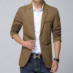Blazer Masculino Marrom Slim Fit Casual Jackets