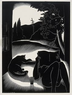 """michaelfaudet: """" Paul Landacre, Sultry Day - 1937 wood engraving """" Paul Hambleton Landacre (July Columbus, Ohio - June Los Angeles, California) participated in the Southern. She And Her Cat, Scratchboard, Wood Engraving, Woodblock Print, Cat Art, Inktober, Online Art, Printmaking, Book Art"""
