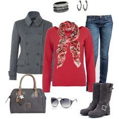 Casual Outfit - shirt, jacket, jeans <3