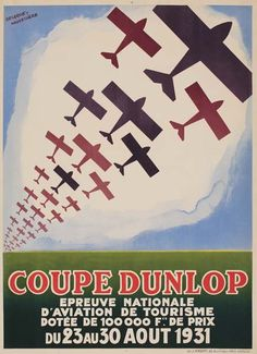 avion - Coupe Dunlop - épreuve nationale d'aviation de tourisme - 1931 - illustration de Delarue-Nouvelliere -