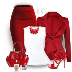 A fashion look from April 2016 featuring marni blouse, ruffle blazer and red bodycon skirt. Browse and shop related looks. Dressy Outfits, Mode Outfits, Stylish Outfits, Jw Mode, Mode Glamour, Red Flare, Business Outfits, Looks Style, Work Fashion
