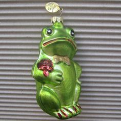 Vintage Christmas Ornament Green Frog Hand Blown Glass Made In Germany