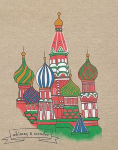 St Basil's Cathedral. Original acrylic painting.