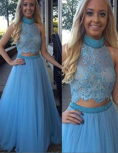 2016 Custom Popular Blue Tulle Prom Dress, Halter Lace Evening Dress,Two Pieces Prom Dress