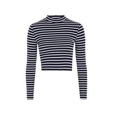 Topshop Stripe Funnel Neck Top ($19) ❤ liked on Polyvore featuring tops, shirts, navy blue, navy crop top, long sleeve crop top, navy striped shirt, navy blue crop top and striped shirt