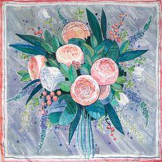 Тenderness  hand painted silk shawl. Light grey rose green