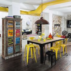 Sgabello da bar industriale giallo - Jim Jim | Maisons du Monde