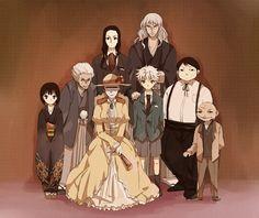 Hunter x Hunter ~ Zoldyck Family from oldest to youngest -- Maha, Zeno, Silva, Kikyo, Illumi, Milluki, Killua, and Kalluto