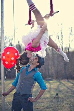 Circus themed engagement shoot by Carla Ten Eyck #trapeze #photography