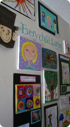 Displaying children's artwork.