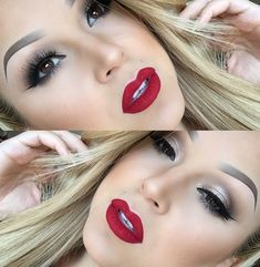 Classic Bombshell Makeup.. http://www.caring.in.net/classic-bombshell-makeup.html ..This makeup tutorial will show you how you can apply a Classic Bombshell Makeup look, which includes bold lips and neutral eyes .. #BombshellMakeup #MakeupTips #EyesMakeup