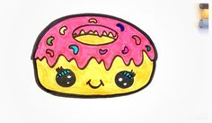 Hey guys, I'm in a hungry mood today! Why not join me and draw a cute tasty cartoon donut. Mmm the pink icing looks so yum :)