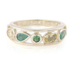 Camaïeu de vert et de jaune - Bague pour femme sertie de Danburites, d'Emeraudes et de Tsavorites -  Bijou en or - Juwelo bijouterie en ligne