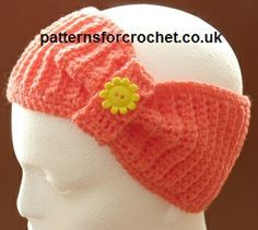 Free crochet pattern for bow headband http://www.patternsforcrochet.co.uk/bow-headband-usa.html #patternsforcrochet