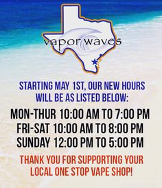 Make a note everyone! Vapor waves hours will change as of May 1st!!! The new hours are as followed: #breatheinvapeout #newhours #takenotes