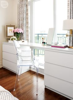 Cool idea - a custom built desk/vanity by combining two IKEA dressers and attaching a piece of painted plywood to the top! I like the white and the drawers, also the mirror