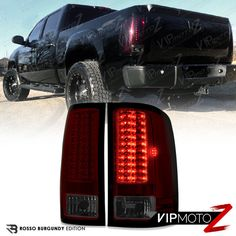 2007 2013 GMC Sierra 1500 2500HD 3500HD CCFL Halo LED DRL Projector      SMOKING RED  GMC Sierra V8 2007 2013 V8 LED Tail Lights Lamp Brake