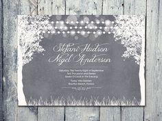 Set of 100 - Charcoal - Winter Garland Lights Wedding Invitation and Reply Card Set - Wedding Stationery - ID80MC