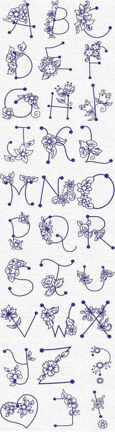 Creative Lettering: whimsical, artistic flower letters for font and calligraphy inspiration Embroidery Alphabet, Paper Embroidery, Cross Stitch Embroidery, Machine Embroidery, Butterfly Embroidery, Embroidery Designs, Floral Embroidery Patterns, Flower Letters, Flower Alphabet