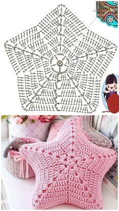 Crochet Cushion Cover, Crochet Pillow Pattern, Crochet Cushions, Crochet Diagram, Crochet Motif, Crochet Doilies, Crocheted Flowers, Crochet Home, Diy Crochet