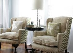 LOVE the chevron fabric on the backs of these chairs.