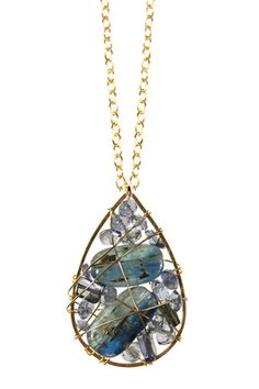 Entwine Collection Ocean Blue Drop Pendant Necklace - @Vanessa Scott you could totally make something like this!