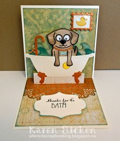 Karen Aicken using the Pop it Ups Buster the Dog, Bathtub Pop Stand, Lorna Label, Paris Edges and Props 4 dies by Karen Burniston for Elizabeth Craft Designs. - Card for a Groomer
