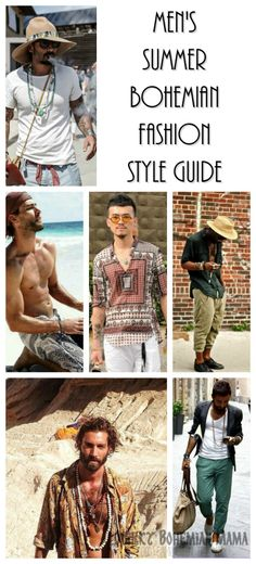 Men's Bohemian Fashion for Summer {Men's boho bohemian hippie fashion, style guide} Just because it's hot outside doesn't mean you can't look cool. Men's Bohemian Fashion for Summer {Men's boho bohemian hippie fashion, style guide} Men's summer fashion. Bohemian Outfit Men, Bohemian Style Men, Bohemian Style Clothing, Look Boho, Men Boho, Bohemian Clothing, Boho Man, Modern Bohemian, Style Clothes