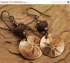 On Sale Etched Metal, Lampwork Beaded Earrings, Brown Flowers E485. $23.20, via Etsy.