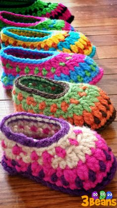multi color galilee slippers newborn to 24 by 3BeansCrochetnCraft, $12.50