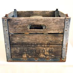 Wood And Metal Milk Crate