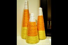 Candy corn from yarn-wrapped cones - 15 Halloween Decoration and Crafts for Kids - ParentMap