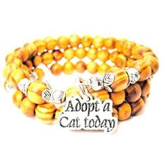 NATURAL WOOD WRAP BANGLE ADOPT A CAT TODAY BRACELET - See more at: http://www.chubbychicocharms.com #Adoption #Love #Bracelet