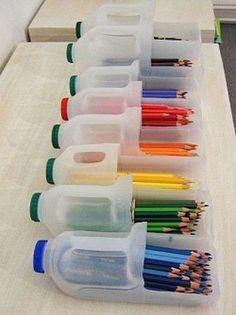 Riciclo creativo di carta, vetro e plastica - Porta matite