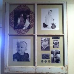 Old window with family pictures. My first pinterest project.
