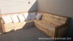 Canapé d'angle avec palettes planches 1