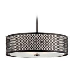 Designers Fountain Lighting Modern Drum Pendant Light with Beige / Cream Shades in Artisan Finish | 6202-ART | Destination Lighting