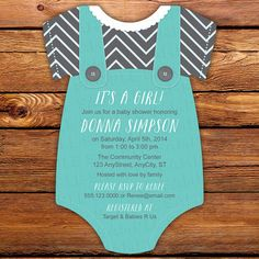 Tiffany Blue with Gray Chevron Print Baby by LittleBeesGraphics, $31.00
