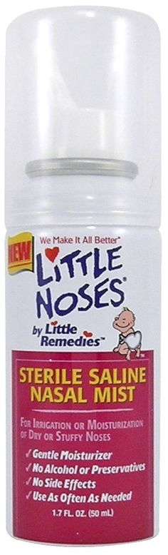 saline mist to clear the noses of children