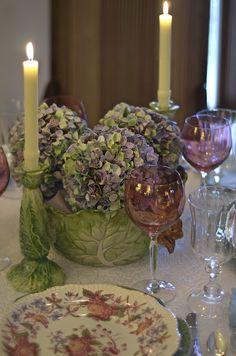 Cabbage bowl & hydrangea centerpiece