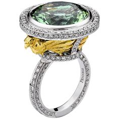 Theo Fennell Green Tourmaline Diamond Gold Phoenix Ring | From a unique collection of vintage cocktail rings at https://www.1stdibs.com/jewelry/rings/cocktail-rings/