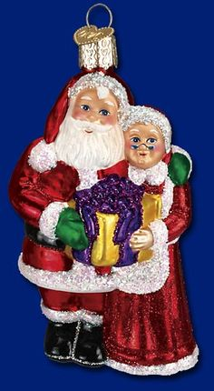 Mr. & Mrs. Claus,  Christmas Glass Ornaments  www.oldworldchristmas.com