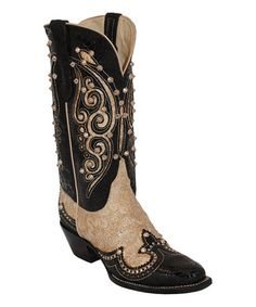 Loving this Black & Cream Punk Princess Leather Boot - Women on #zulily! #zulilyfinds