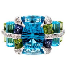 Bellari Blue Topaz Peridot Iolite Diamond Ring. 18K Gold, White Gold, Diamond, Iolite, Peridot, Topaz. Contemporary.