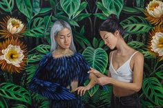 Night blooming cereus - new painting by Andrea Barreda #andrea barreda #arte #nightblooming #painting #art #girls #bird