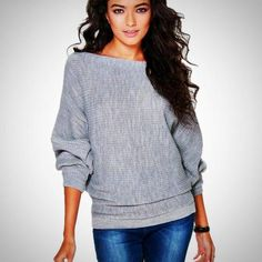 c9a2a835d2 Z I Women Autumn Winter Fashion Sweaters Solid Long-sleeve Knitted Pullovers  Batwing Sleeve Casual Cloth