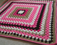 Baby Granny Square  Blanket Crochet in Pinks Browns and White Ready to Ship on Etsy, $35.00