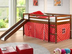 Donco Kids Tent Twin Low Loft Bed with Slide Color: Light Espresso/Camo Bunk Beds With Stairs, Kids Bunk Beds, Camo Rooms, Low Loft Beds, Bed With Slide, Bed Tent, Tent Bedroom, Bedroom Kids, Kids Room