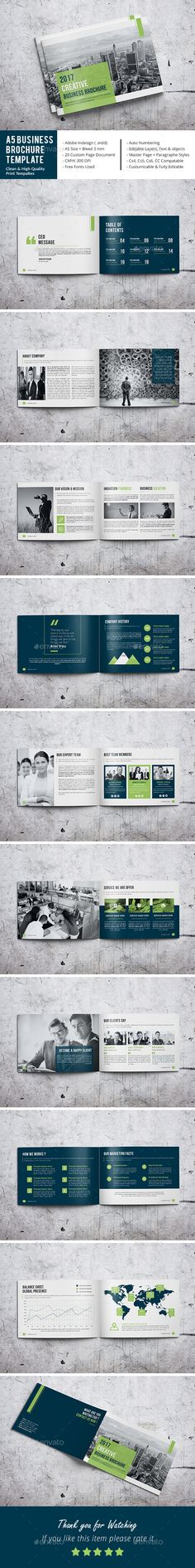 A5 Business Brochure Template - Corporate Brochures | Download: https://graphicriver.net/item/a5-business-brochure-template/18668862?ref=sinzo