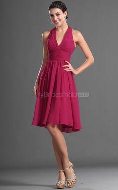 Fuchsia Chiffon A-line Halter Short Bridesmaid Dress For Beach(NZBD06423) - MyBridesmaid.co.nz
